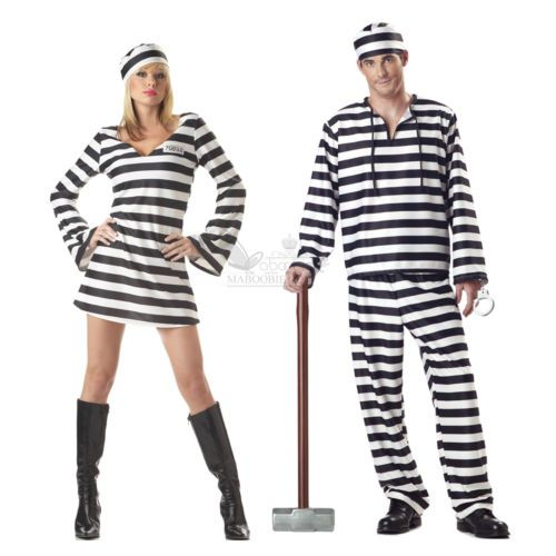 Prisoner Fancy Dress Costume Halloween Convict Jail Adult Outfit Black White | Womenu0027s Fancy Dress | Fancy Dress  sc 1 st  Pinterest & Prisoner fancy dress costume halloween convict jail adult outfit ...