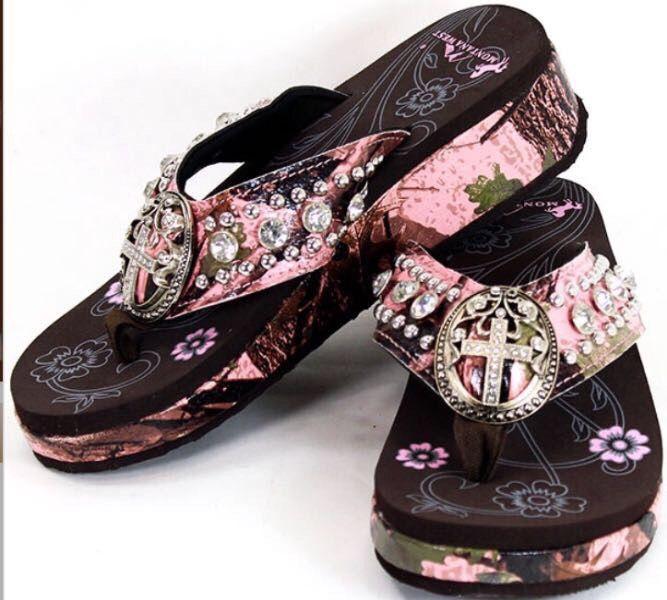 62fd8dc605315 Pink Camo Montana West Cross Rhinestone Flip Flops Flip Flop Sandals, Bling Flip  Flops,