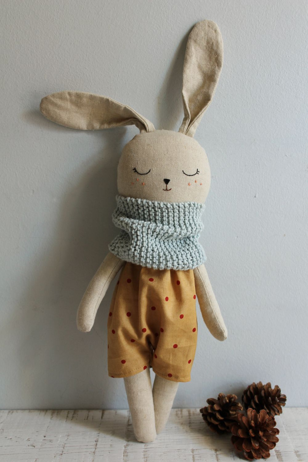 Big bunny doll, made with organic cotton and linen fabrics. #toydoll