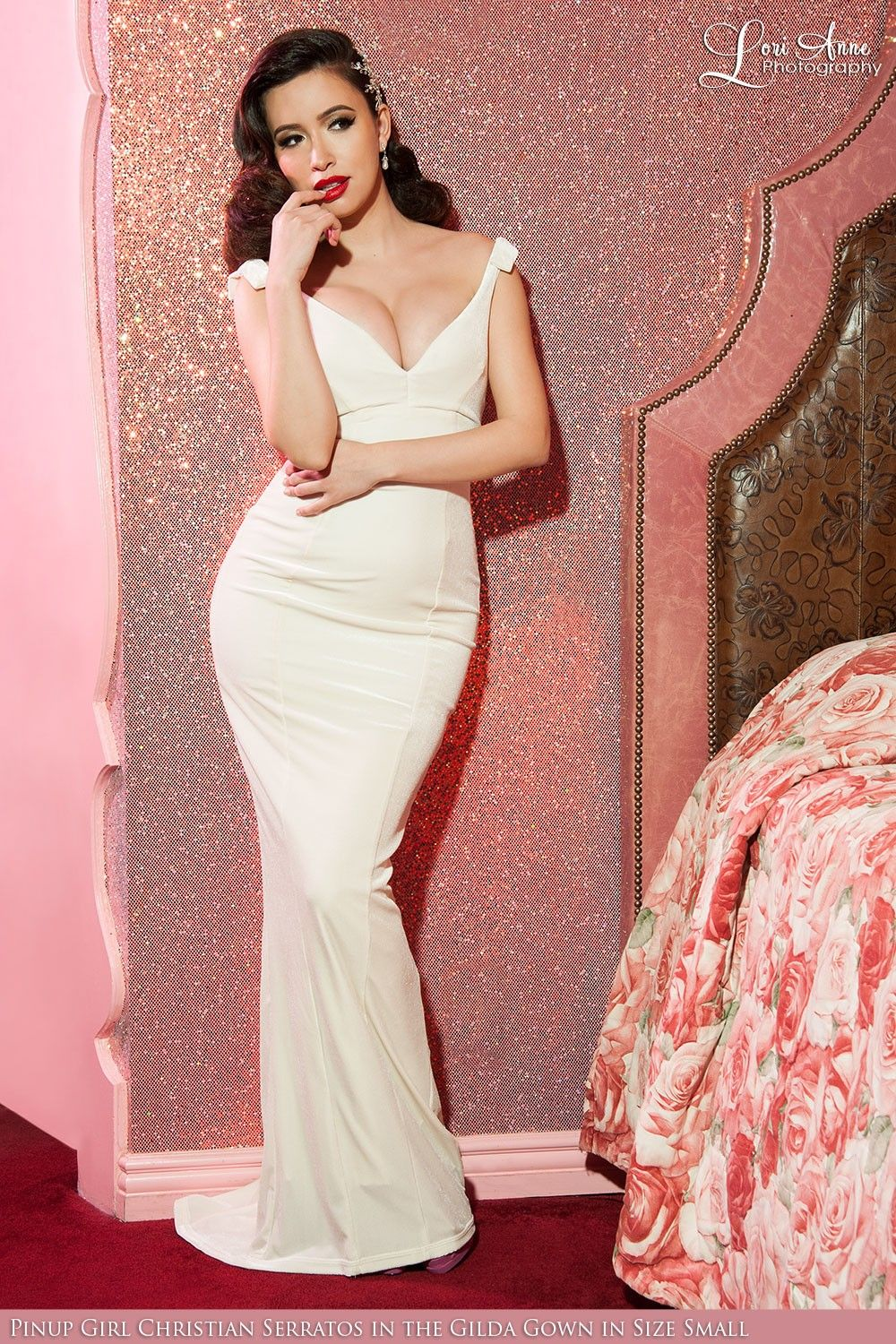 Final Sale - Laura Byrnes California Gilda Gown in Ivory Velvet