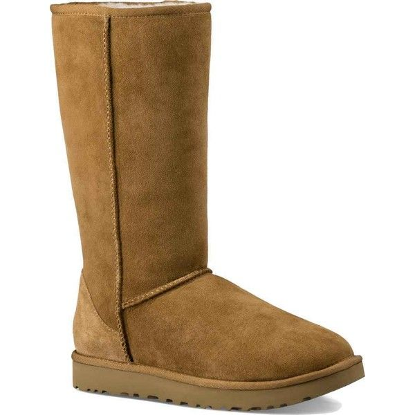 UGG Women's Classic Tall II Chestnut Boots ($200) ❤ liked on Polyvore featuring shoes, boots, mid-calf boots, tall leather boots, light weight boots, lightweight boots, real leather knee high boots and tall boots