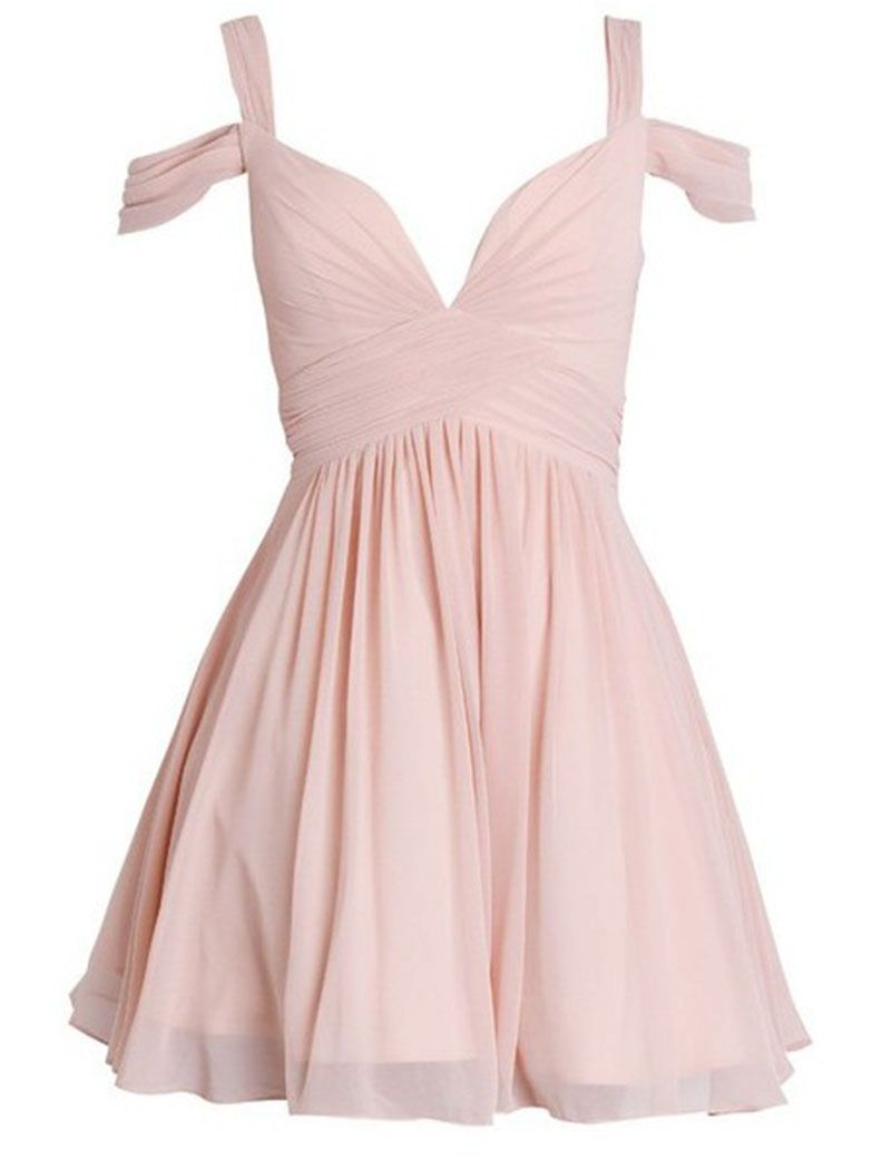 High Quality Simple V-neck Short Chiffon Pink Homecoming Dress ...