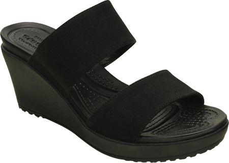 6bafb71c7135 Womens Crocs Leigh II 2-strap Wedge Sandal - Black Black - FREE Shipping    Exchanges