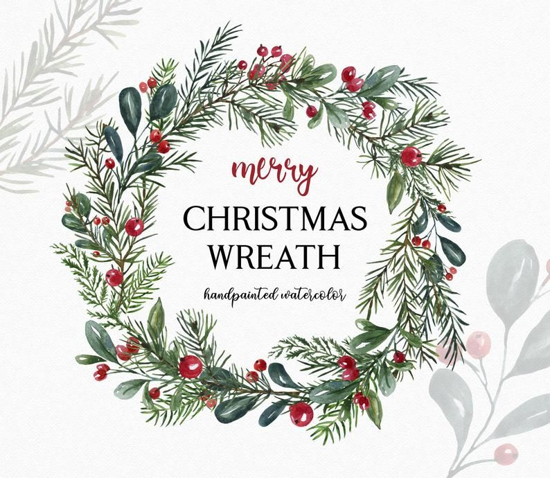 Watercolor Christmas Wreath Clipart Pine Greenery Red Berries Etsy In 2021 Hand Painted Christmas Cards Christmas Wreath Clipart Painted Christmas Cards