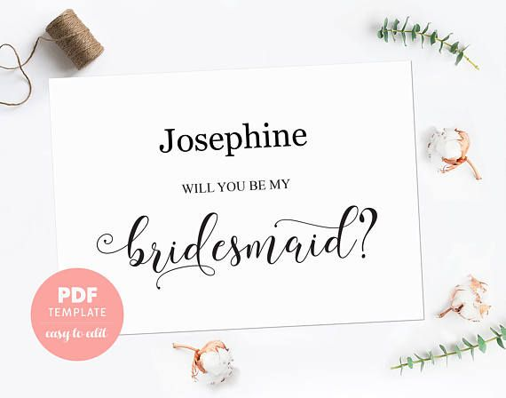 Bridesmaid Proposal Card Bridesmaid Pdf Template Card Made Of