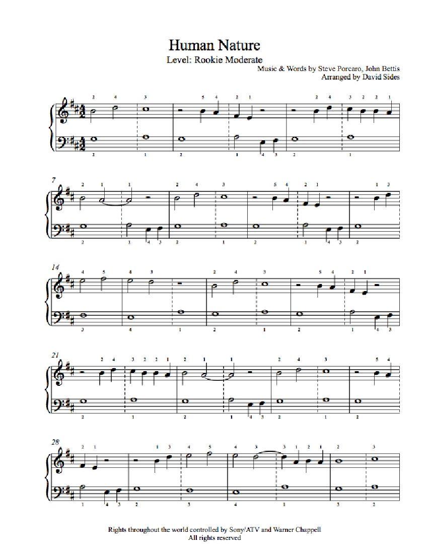 Human Nature by Michael Jackson Piano Sheet Music | Rookie Level