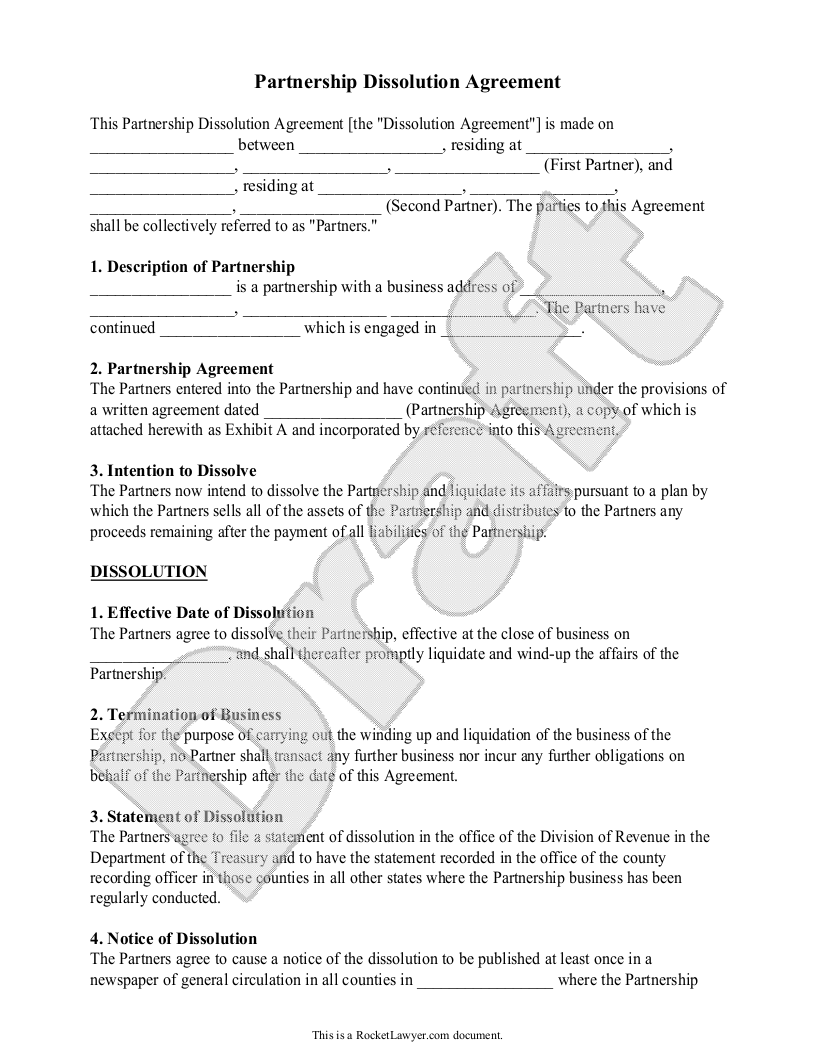Sample Partnership Dissolution Agreement Form Template | mj ...