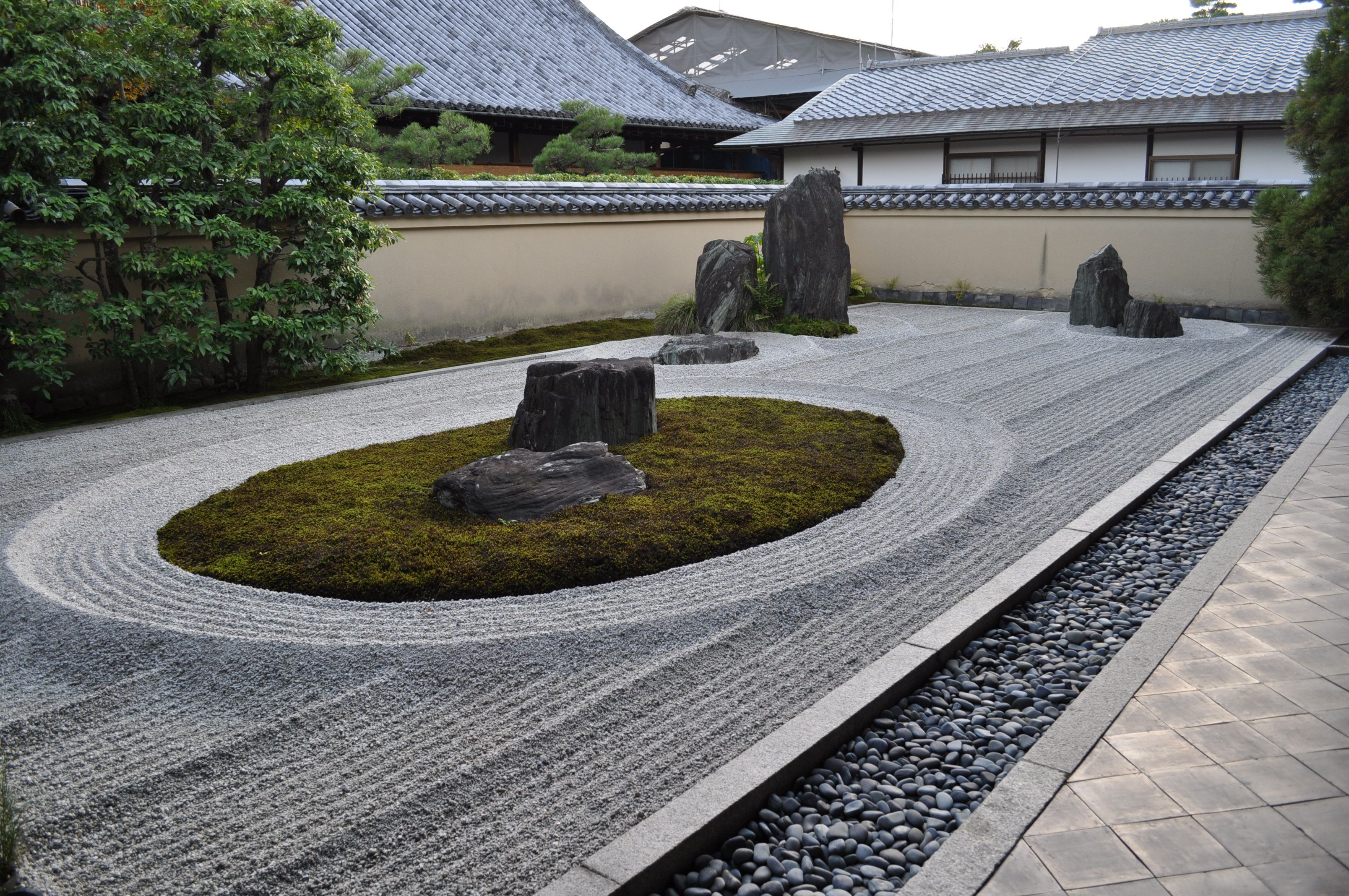 Japanese Rock Garden (karesansui) Is Often Called Zen Garden And Is A Garden  That Suggests Mountains And Water Using Only Stones, Sand, Gravel Or Plants.