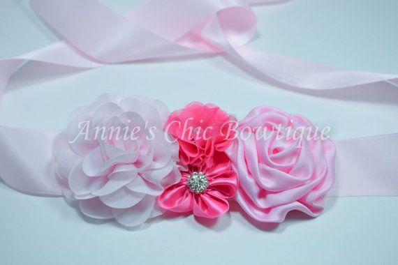 GRAN venta rosa niña de las flores faja faja por AnniesChicBowtique