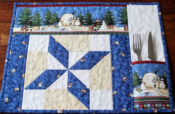 Quilted Christmas Placemats Pocket Placemats Table Mats Blue Cream White Snowman Placemats Set Of 2 Christmas Placemats Place Mats Quilted Christmas Quilts