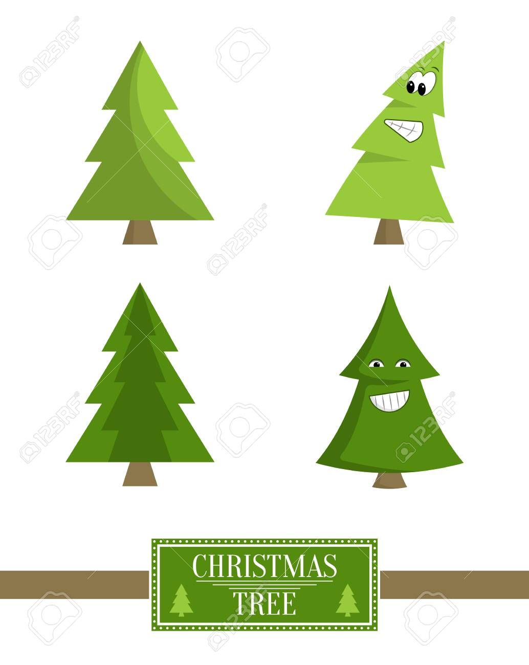 Christmas Tree Sign Board Collection Of Spruce Icons With Eyes And Mouth Emoji Pines Vector Illustration Pro Graphic Design Art Tree Signs Vector Illustration