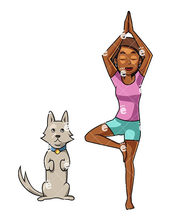 A Black Woman Doing A Yoga Pose As Her Dog Imitates Her Drawing