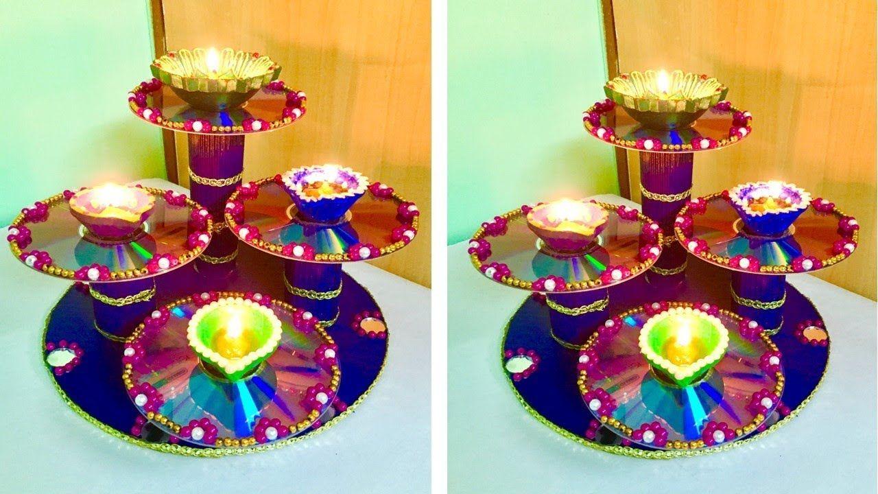 DIY Diya Stand from Waste CDs / Diya Thali for Diwali