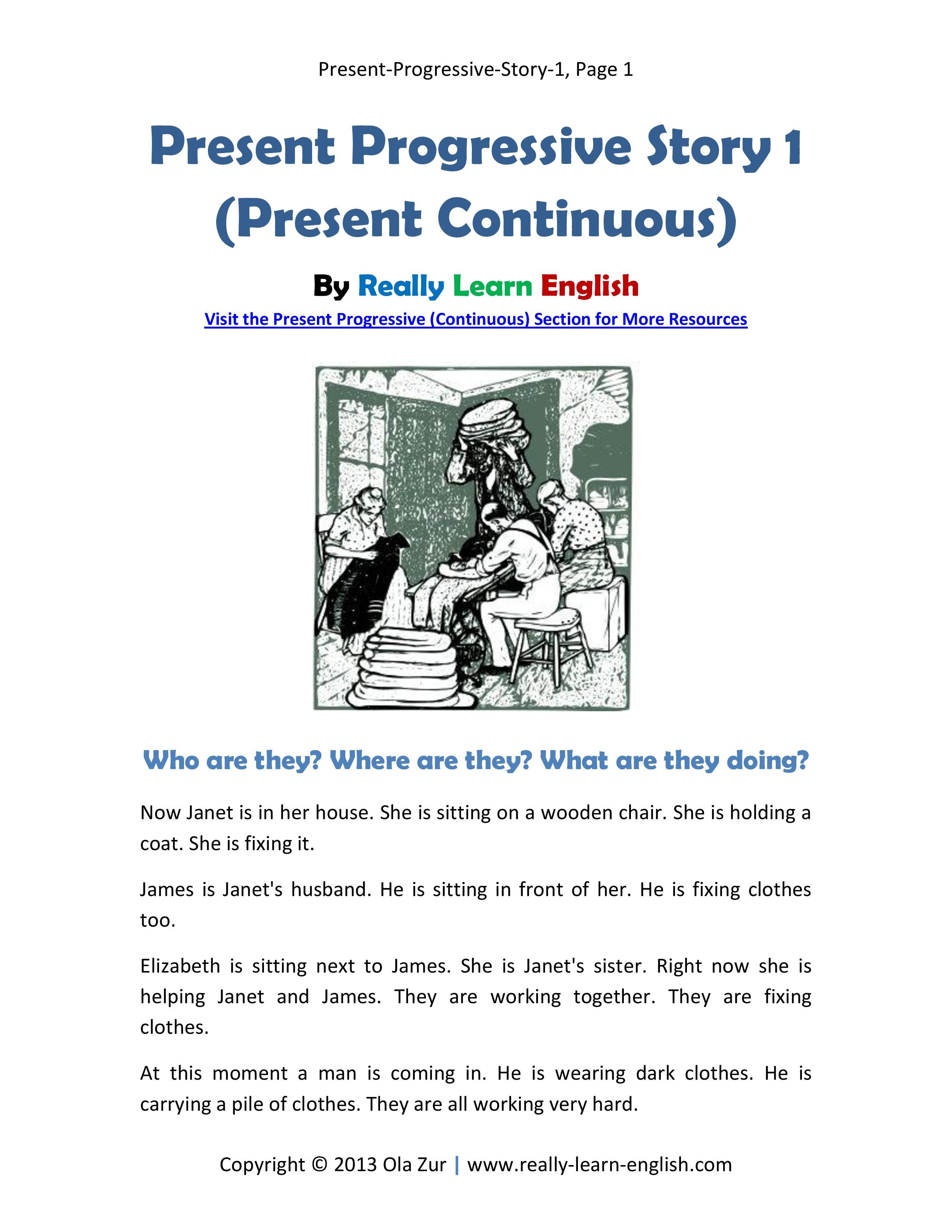 Free Printable Story And Exercises To Practice The Present Progressive Continuous Tense In Englis Reading Comprehension Lessons English Reading Learn English