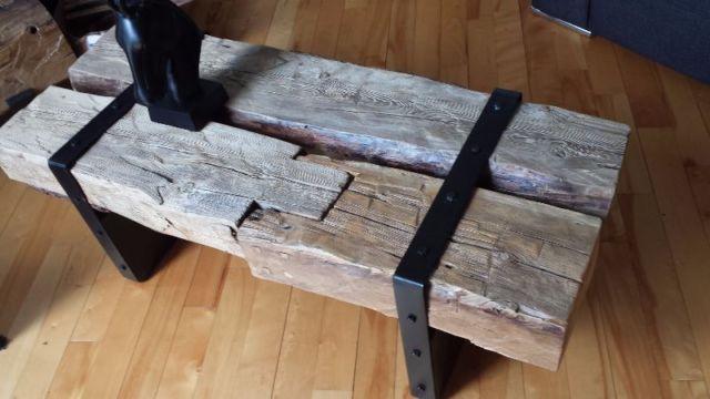 Table de salon bois de grange et métal tables basses longueuil rive