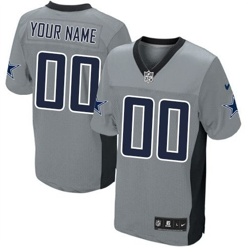 Elite Customized Mens Jersey - Dallas Cowboys Grey Shadow NFL