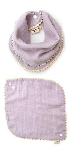 kishu baby Girl Bibs 2-pk Sage and Lavender Pom Pom Bib Gift Set for Girls, Multicolor, One Size