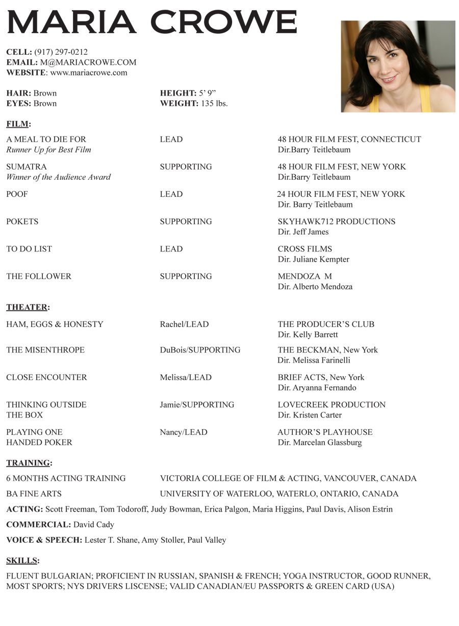 ACTING RESUME IMAGE ROMEO Acting resume template