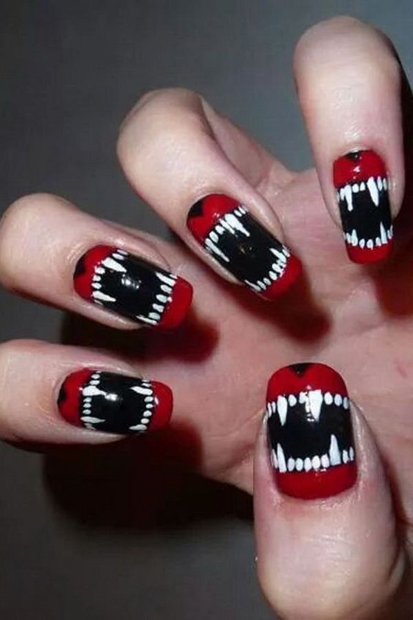 Spooky Red Black And White Halloween Nails Halloween Nail Designs Vampire Nails Halloween Nails