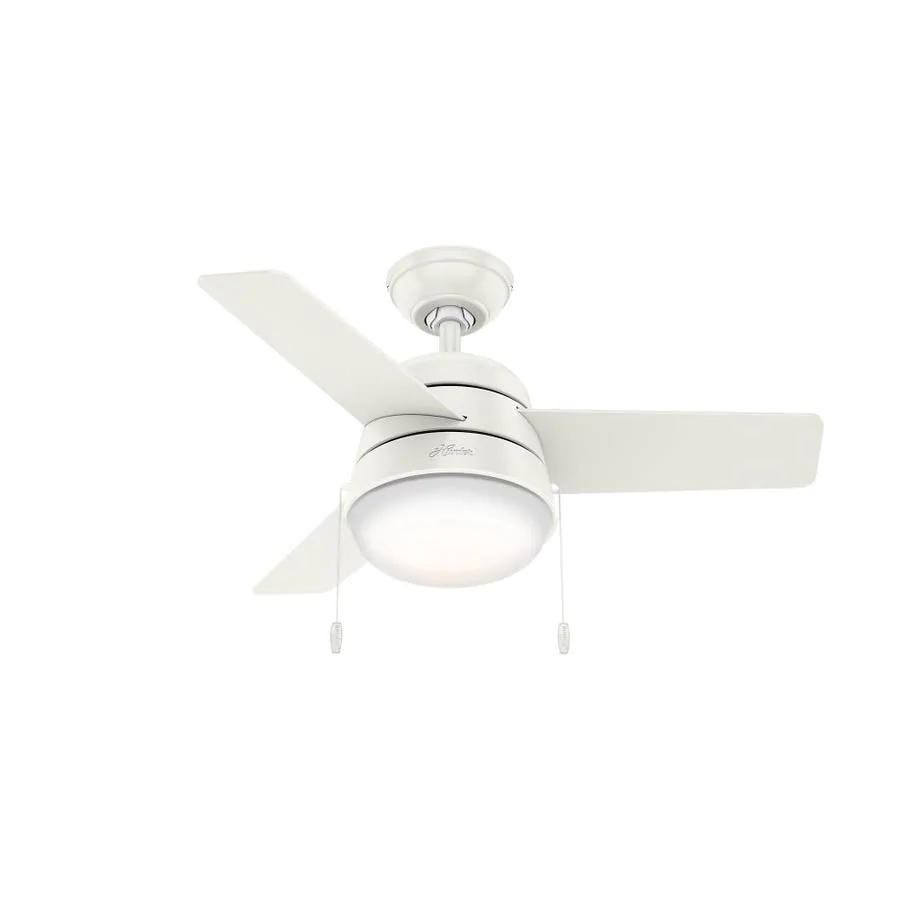 Hunter Aker 36 In Satin White Led Indoor Ceiling Fan With Light Kit 3 Blade In The Ceiling Fan In 2020 Ceiling Fan Ceiling Fan With Light Ceiling Fans Without Lights