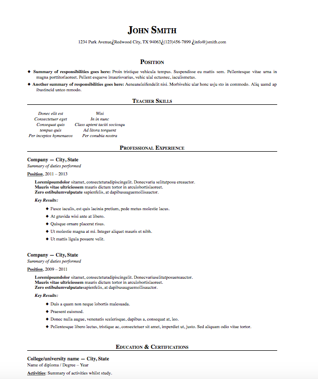 Free Resume Download Traditional Microsoft Word Format