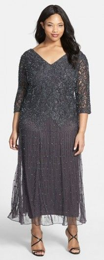 ef4ce4b7049 A gorgeous plus size vintage style beaded dress. A dark charcoal gray color  from the Pisarro nights