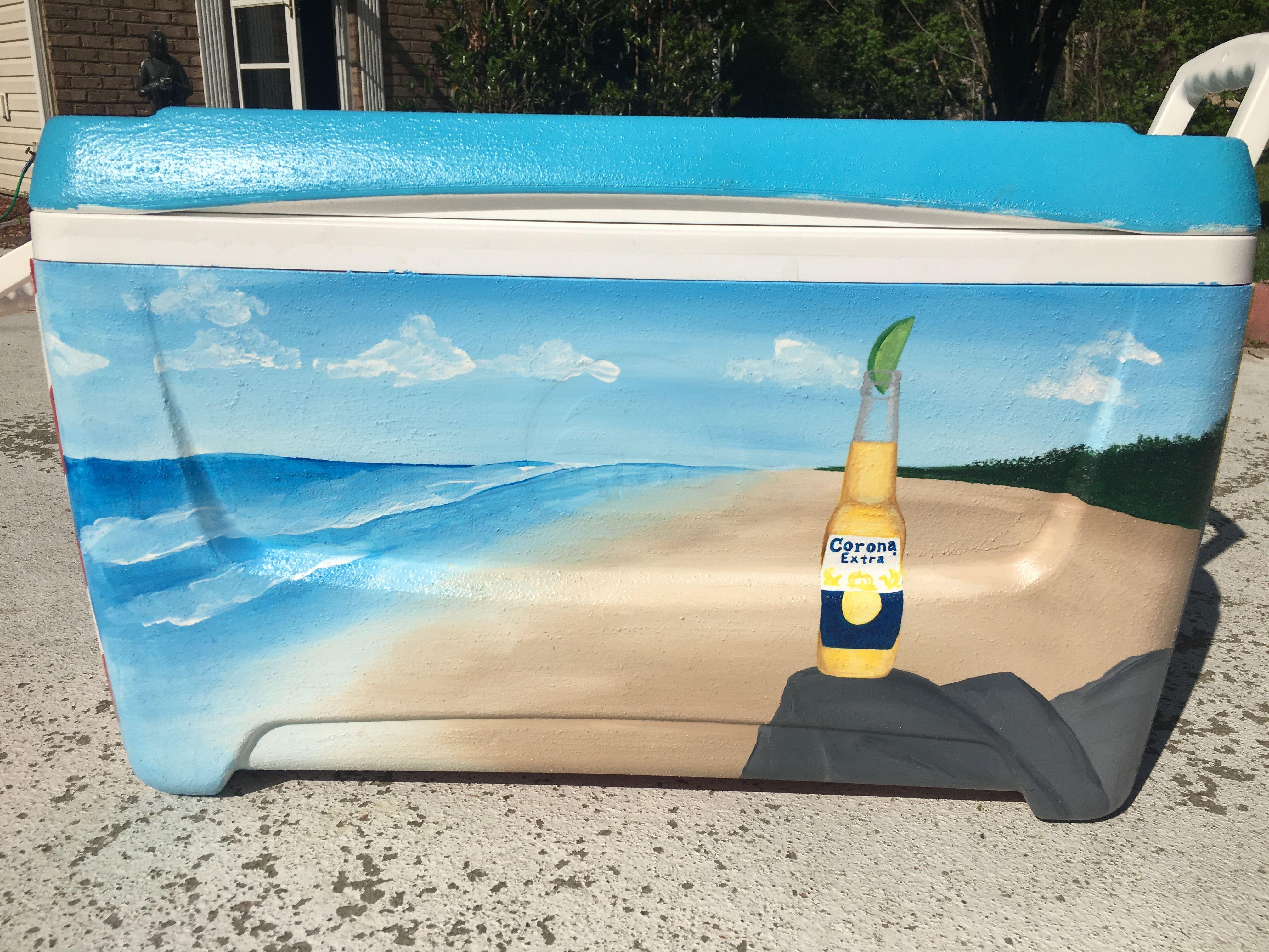 Corona On Beach Scene Painted Fraternity Cooler