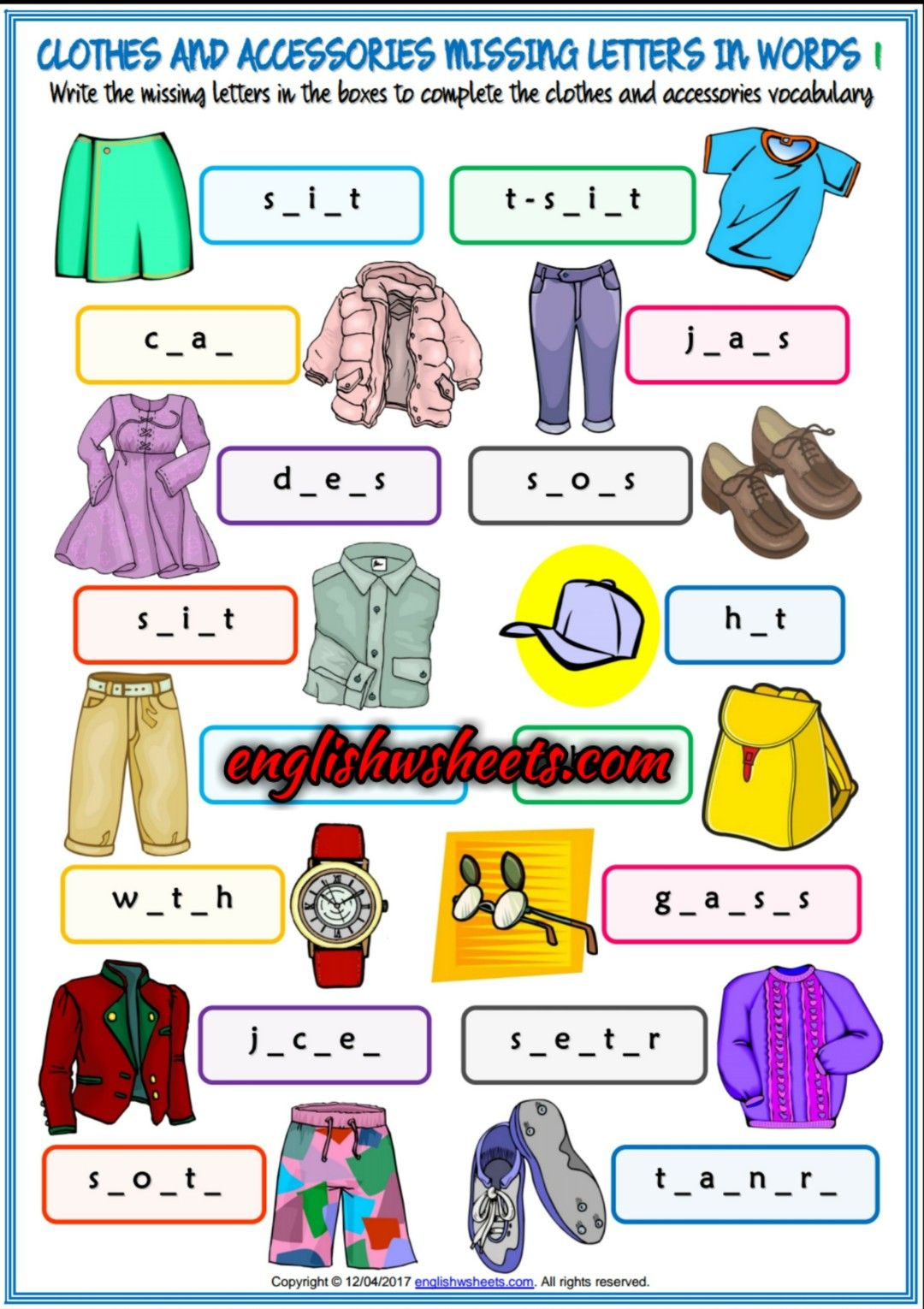 Clothes and Accessories Esl Printable Missing Letters in Words ...