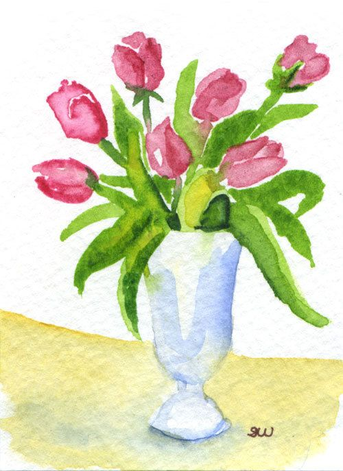 Flowers Vase Aceo Original Watercolor Painting By Susanwindsor