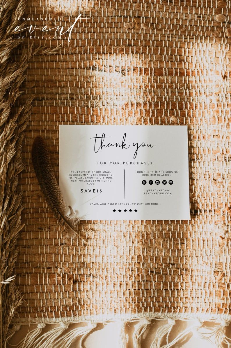 Adella Small Business Thank You Card Template Simple Thank Etsy Business Thank You Cards Thank You Card Template Printable Thank You Cards