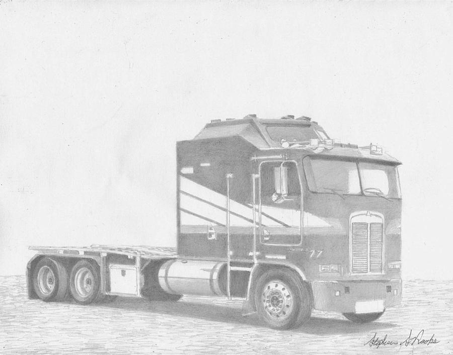 Kenworth Aerodyne Cabover Semi Truck Art Print Canvas ...
