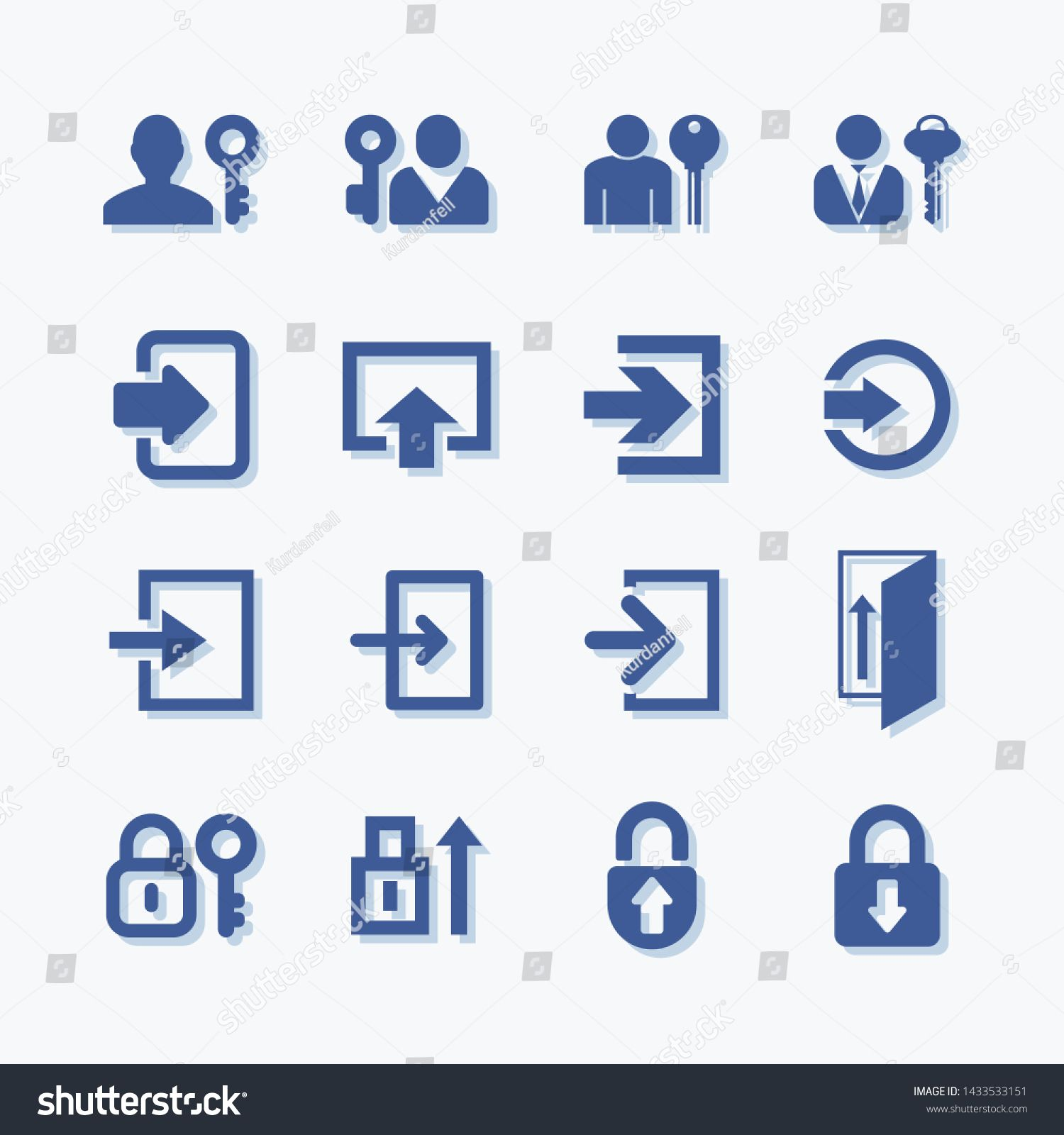 Login vector icons. User account sign symbol. Privacy