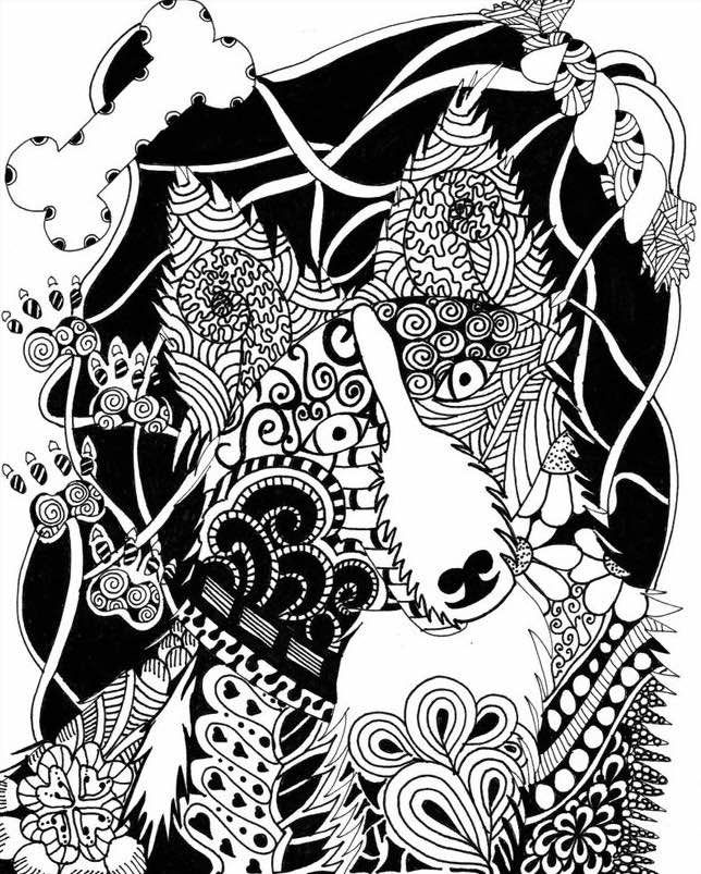 free zentangle dog coloring page for adults