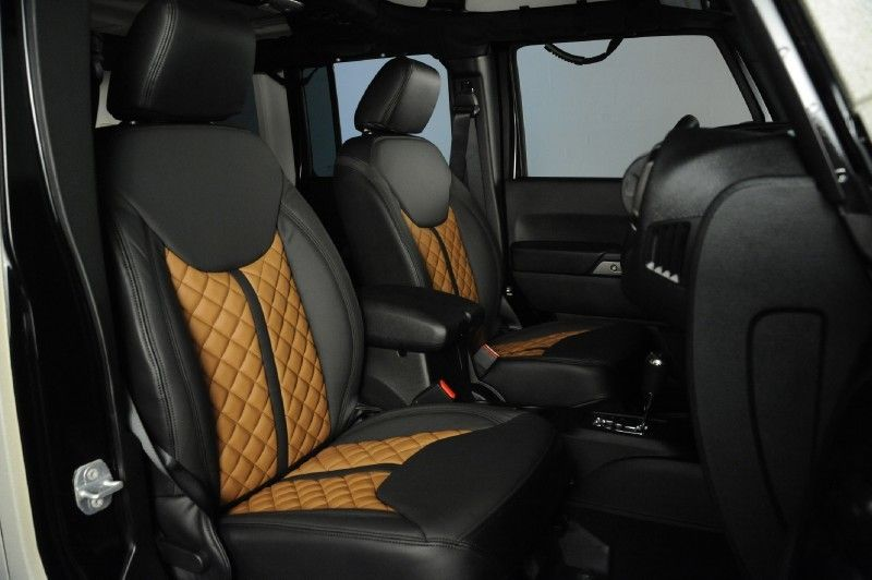 2014 Jeep Wrangler Unlimited In Bentley White Sand Kevlar Exterior Custom Leather Seats