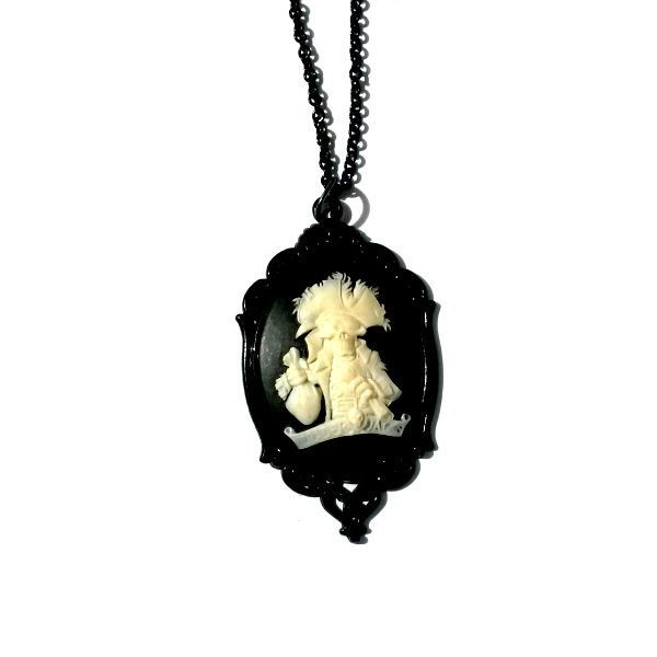 Pirate Skeleton Cameo Necklace Black Gothic Handmade Gift - pinned by pin4etsy.com