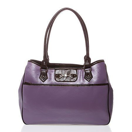 """$159.99-$159.99 Etienne Aigner """"Heritage"""" Faux Leather Tote - Dusty purple logo-embossed faux leather tote with silver-tone hardware, dark brown trim, and padded laptop sleeve. Can hold a cell phone, wallet, cosmetic bag, magazine, thin laptop, and small day planner. Approximately 17.25in at widest point x 12in high x 5.25in deep. Rolled handles approximately 26.5in with a 11in drop. Open top with ..."""