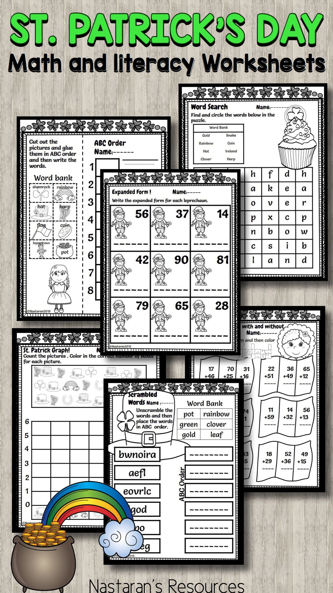 St Patrick S Day Worksheets Math And Literacy
