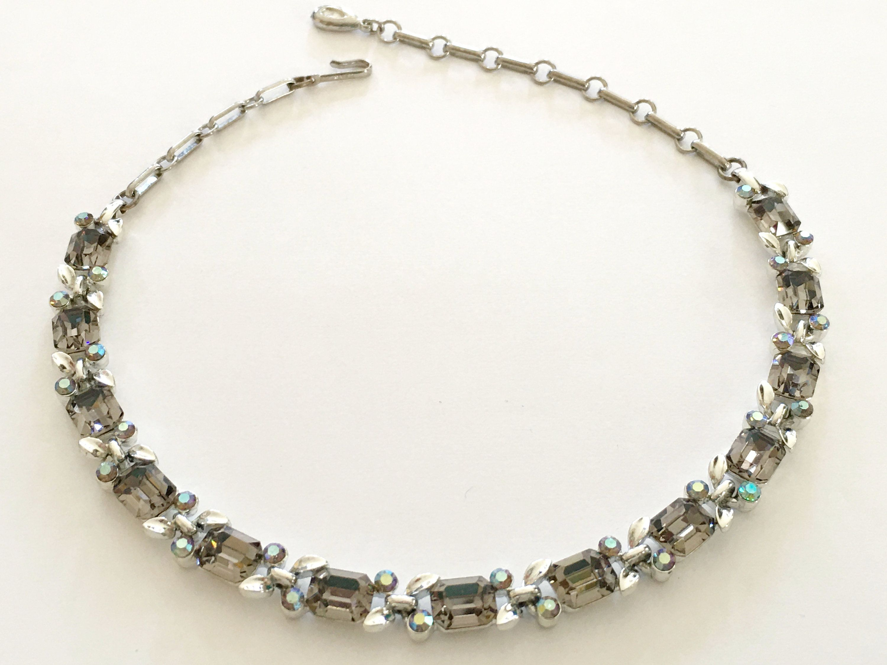 Rhinestone Necklace, 60s Vintage Jewelry, Lisner Vintage Necklace, Chunky Emerald Cut Choker, Silver Links, Smoke Gray Stones, Riviere Style