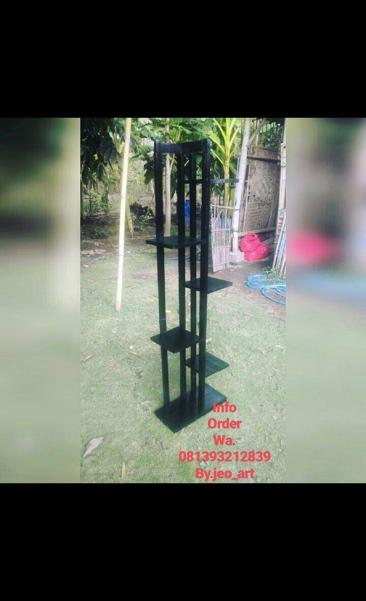 Rak bunga minimalis black Dimensi:140x40x20 Matrial :kayu ...