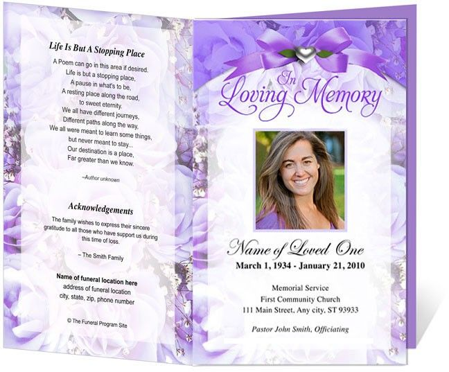 Amethyst Letter Single Fold Funeral Program Template  Mom