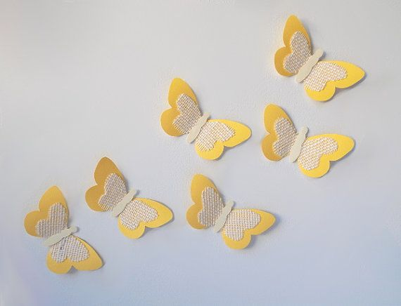 Yellow Paper & Burlap Butterflies/Yellow Nursery Decor/3D Paper Butterflies/Nursery Wall Art/Yellow Girl Baby Shower/Yellow Paper Butterfly