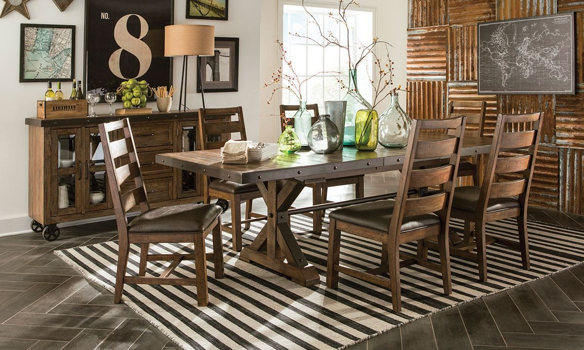 Picture of Canyon Spruce & Steel Dining Set | Rustic table ...