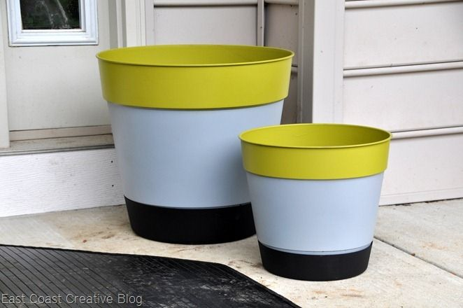 Color Block Flower Containers Using Cheap Plastic Ones Plastic Planters Painting Plastic Plastic Planter
