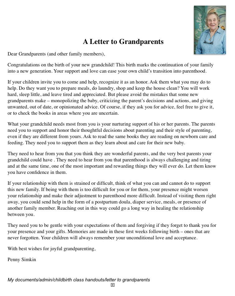 a letter to grandparents | The Birth of A Baby / The Birth of a ...
