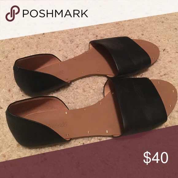 FLASH🎄SALE Madewell black leather flats Worn only once. Madewell Shoes Sandals