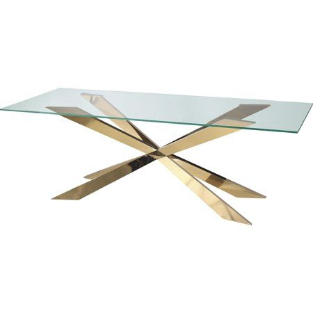 Star Modern Tempered Gl Dining Table With Gold Base 60