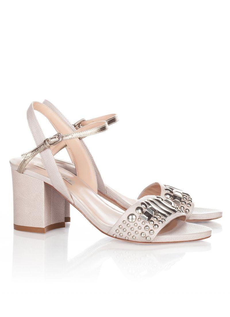 fec3e4151732 Mid heel sandals Pura Lopez in stone leather