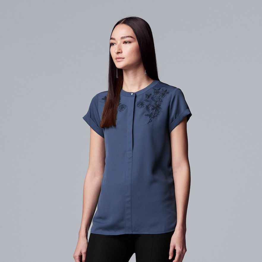 fcfd47504c1c4 Women s Simply Vera Vera Wang Essential Embroidered Popover Top ...