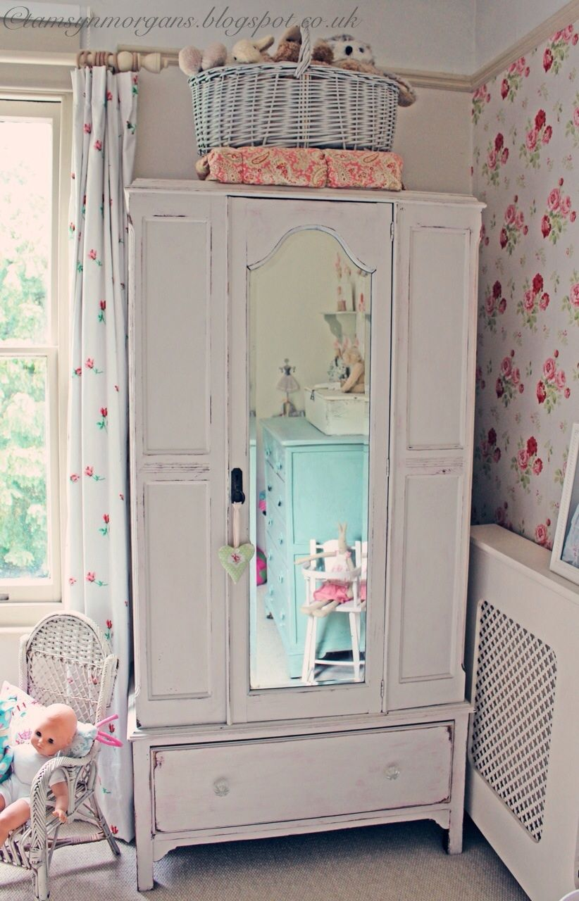 Shabby Chic vintage wardrobe with mirror in child\'s room | Shabby ...