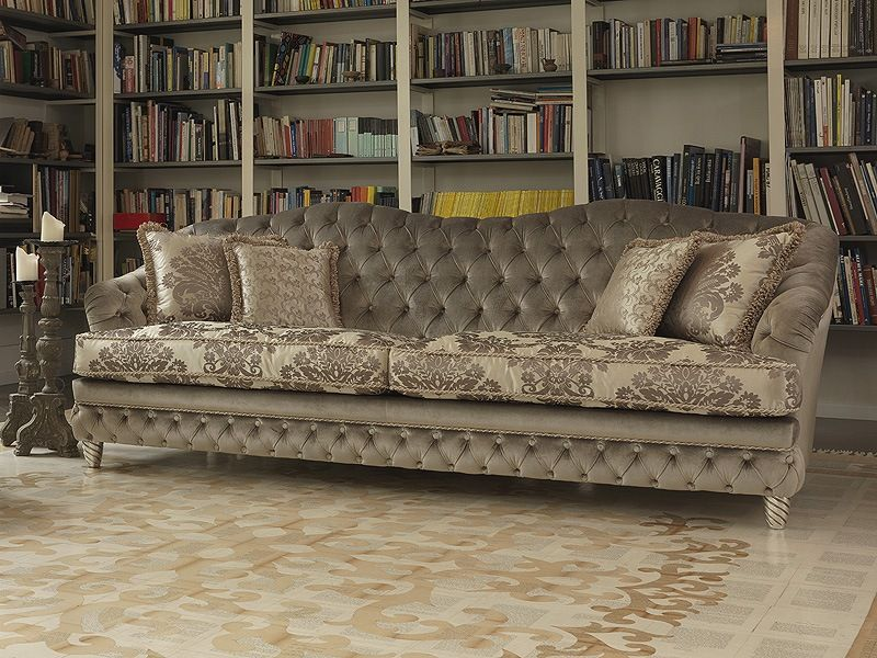 Classic Sofas Is A New Trending Topic: Fascinating Grey Floral Classic  Sofas Design Large Bookshelf